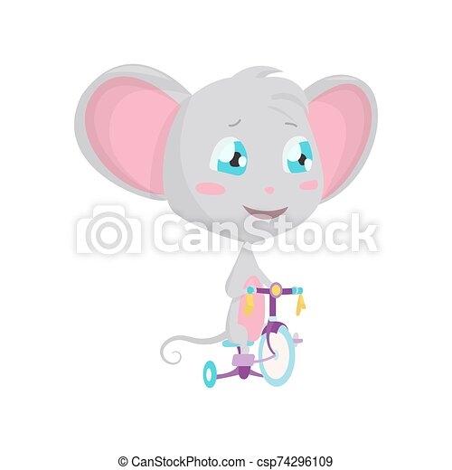 Cute grey mouse rides a bicycle. Vector Stock Illustrations isolated Emoji character cartoon mouse stickers emoticon with emotion, situation and pose. - csp74296109