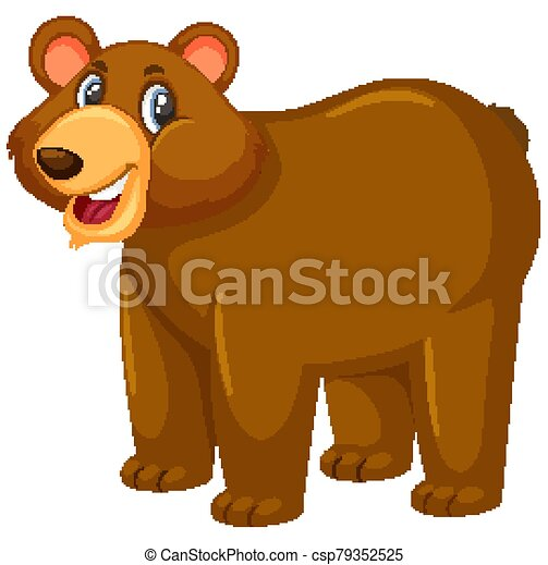 Cute grizzly bear on white background - csp79352525