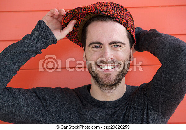 Cute guy with hat . Close up portrait of a cute guy with hat posing ... 0438b3e313c