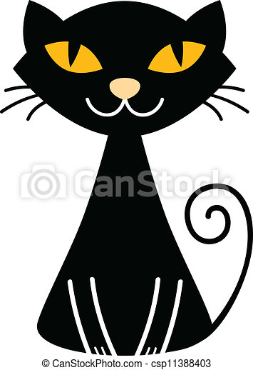 Cute halloween black cat isolated on white. Stylized vector ...