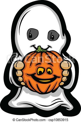 Cute Halloween Kid In Ghost Costume Cartoon Vector Illustration - csp10853915