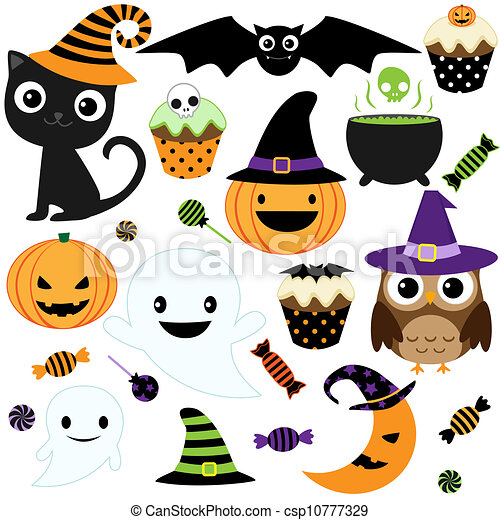 Cute halloween party. Set of cute vector halloween elements ...