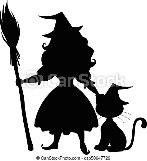Cute halloween witch and cat silhouette. Vector... vector ...