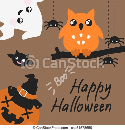 Cute Haloween card with spyders, ghost and owl - csp51578650