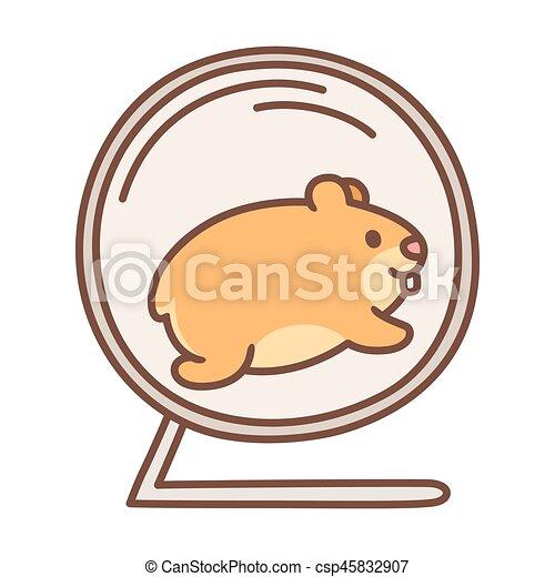 cute hamster running in wheel cute cartoon hamster running in