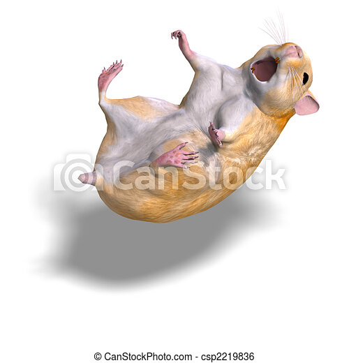 Cute Hamster 3d Rendering Of A Sweet Hamster And Shadow Over White