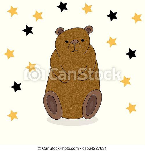 Cute hand drawn cartoon bear. - csp64227631