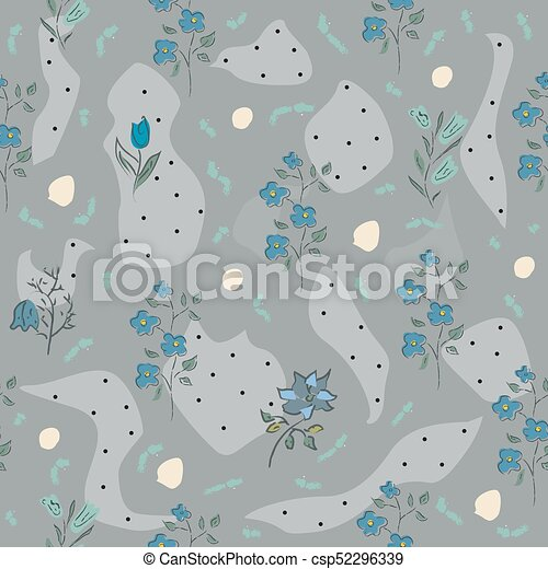 Cute Hand Drawn Flower Pattern Colorful Artistic Design Blossom