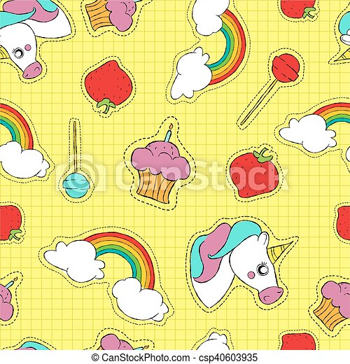 Cute hand drawn stitch patch icon seamless pattern - csp40603935