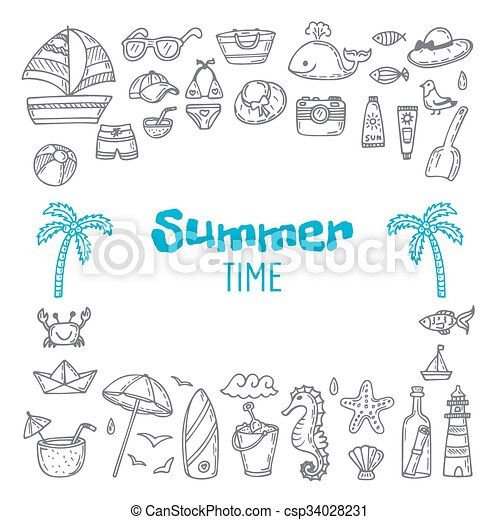 cute hand drawn summer time collection beach theme doodle set