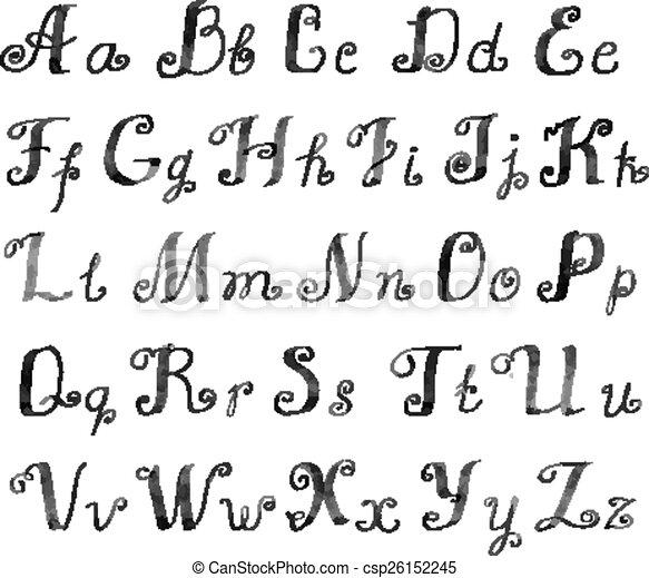 Cute Handwritten Ink Alphabet