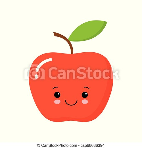 Cute Happy Apple Vector Illustration with Eyes and Face - csp68686394