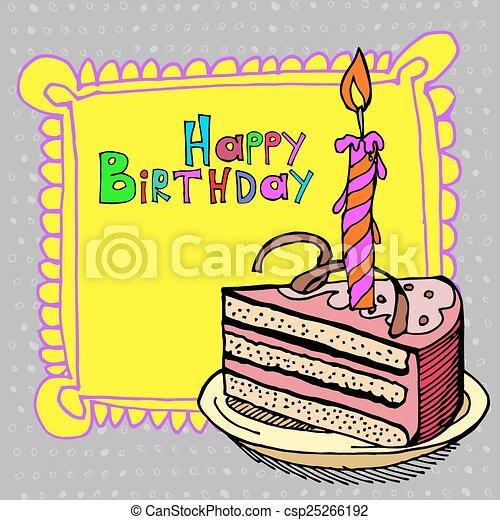 cute happy birthday cake candle - csp25266192