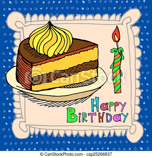 cute happy birthday cake candle - csp25266837