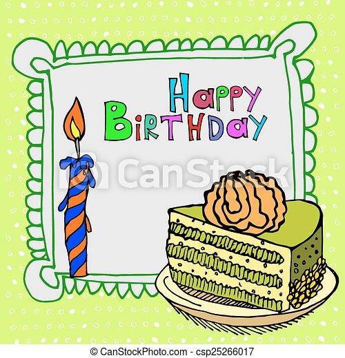 cute happy birthday cake candle - csp25266017