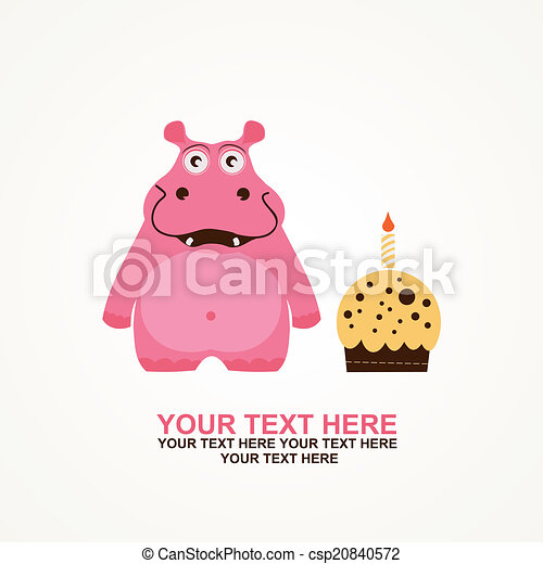 Cute happy birthday card with fun hippo vectors illustration cute happy birthday card csp20840572 bookmarktalkfo Image collections