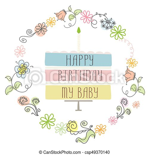 cute happy birthday card with cake and candle - csp49370140