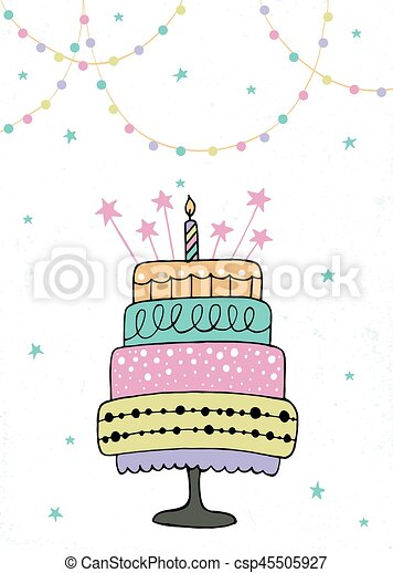 cute happy birthday card with cake and candles vector illustration