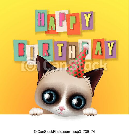 Cute Happy Birthday Card With Fun Grumpy Cat Hipster Design Vector Illustration