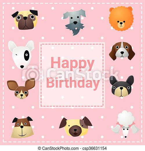 Cute happy birthday card with funny dogs vector clipart vector cute happy birthday card with funny dogs csp36631154 bookmarktalkfo Images