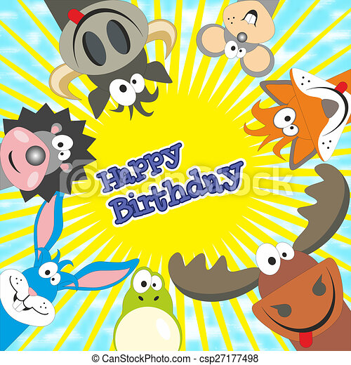 Cute Happy Birthday Card With Funny Animals Elk Cow Hedgehog
