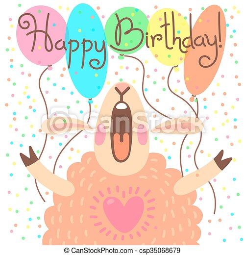 Cute happy birthday card with funny lamb vectors illustration cute happy birthday card with funny lamb csp35068679 bookmarktalkfo Images