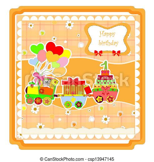 cute happy birthday card with train - csp13947145