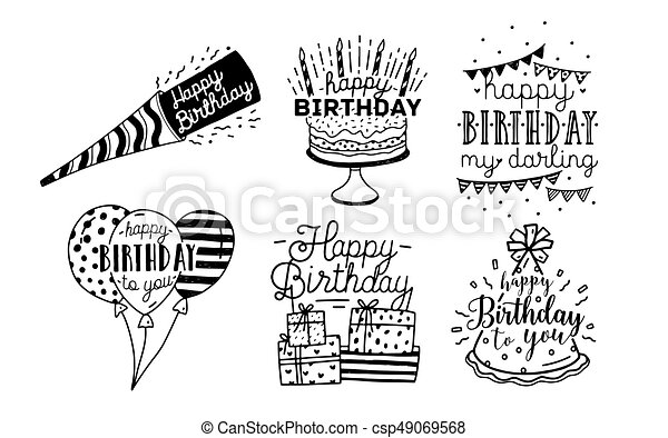 Cute Happy Birthday Greetings Inscriptions Design Collection Black And White Hand Drawn Lettering