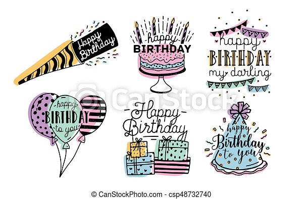 Cute happy birthday greetings inscriptions design collection cute happy birthday greetings inscriptions design collection colorful hand drawn lettering vector m4hsunfo