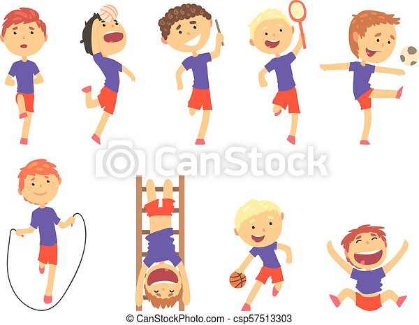 Cute happy boys doing sports set. Activity kids playing colorful cartoon Illustrations - csp57513303