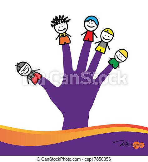 Cute happy cartoon kids on fingers. Vector illustration. - csp17850356