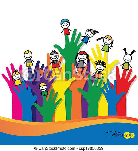 Cute happy cartoon kids on fingers. Vector illustration. - csp17850359