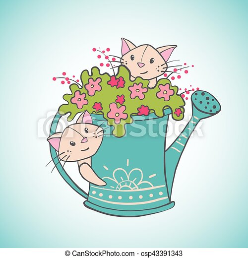 Cute happy cats with watering can full of flowers. - csp43391343