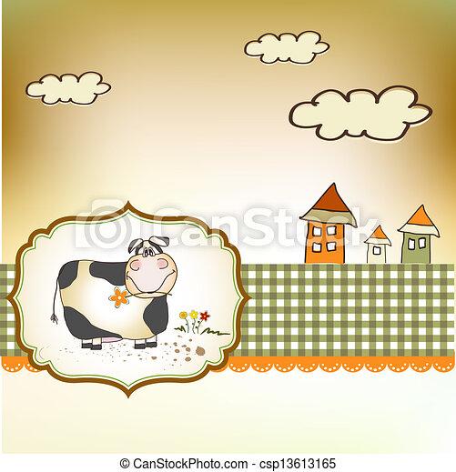 cute happy cow - csp13613165
