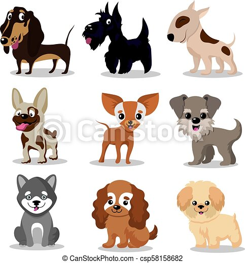 Cute Happy Dogs Cartoon Funny Puppies Vector Characters Collection Set Of Breed Dogs Illustration Of Friendly Animal