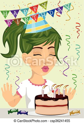 cute happy girl celebrating her birthday blowing the candles out on a chocolate and cream cake - csp36241455