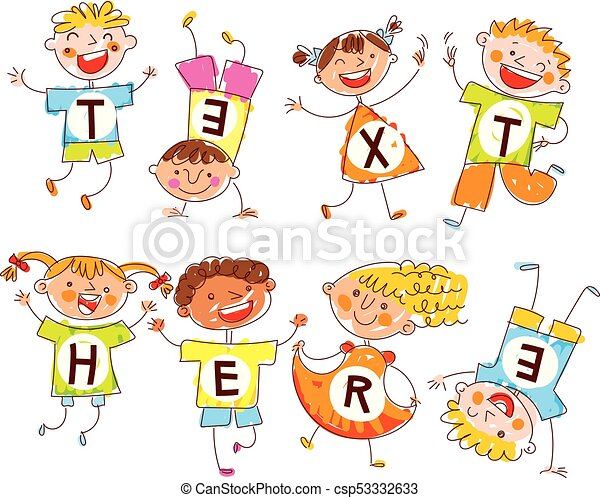 Cute happy kids. In style of children's drawings. Space for text - csp53332633