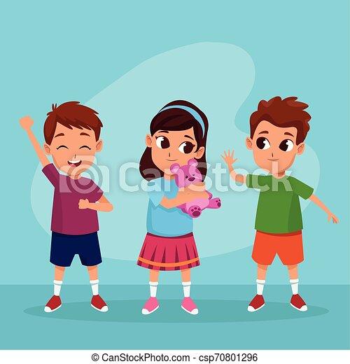 Cute happy kids smiling cartoons - csp70801296