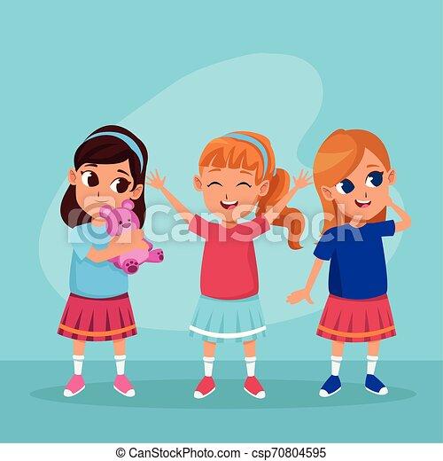 Cute happy kids smiling cartoons - csp70804595