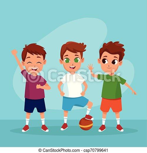 Cute happy kids smiling cartoons - csp70799641