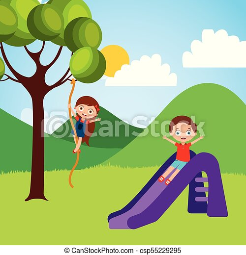 Cute Happy Little Kids Playing Slide Climbing Tree Rope Vector
