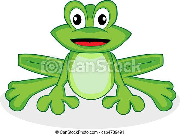 cute happy looking tiny green frog  - csp4739491