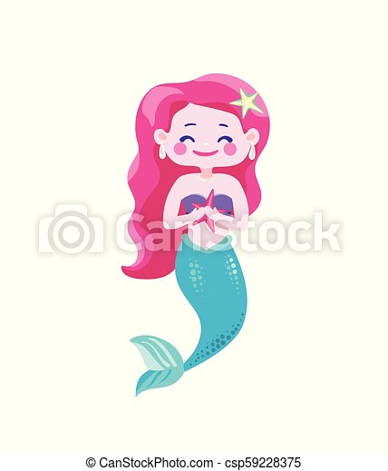 Cute happy mermaids with pink hair and blue tail, hold in hand starfish. Character cool design. Sea ocean theme. Vector illustration isolated - csp59228375