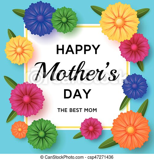 Cute Happy Mothers Day Background In Paper Art Style Vector Illustration
