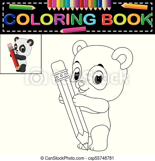 Illustration of cute happy panda coloring book.