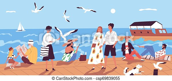 Cute happy people walking along quay or seafront and feeding seagulls against sea or ocean with sail boats on background. Vacation at seaside resort. Flat cartoon colorful vector illustration. - csp69839055