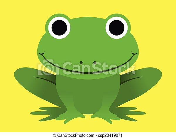 Cute happy smiling green frog - csp28419071