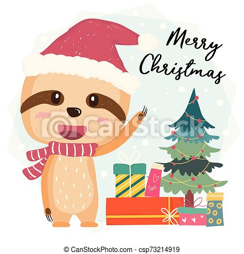 Cute happy smilling sloth flat vector with gift boxes and christmas tree in Santa hat, merry christmas - csp73214919