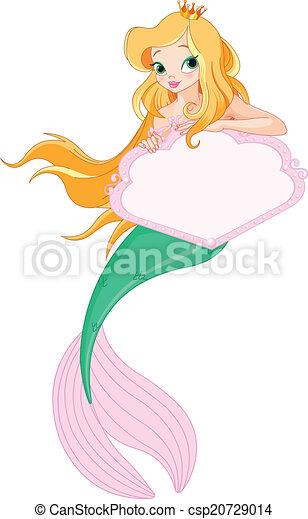 cute, havfrue, holde, tegn - csp20729014