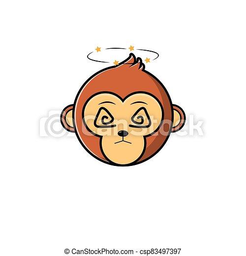 Cute Head Monkey Mascot - csp83497397